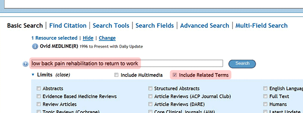 "Ovid ""Basic Search"" with ""low back pain rehabilitation to return to work"" in search box and ""Include Related Terms"" checked."