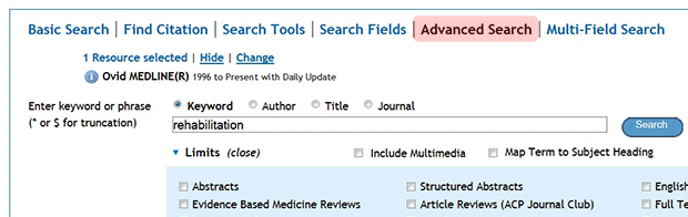 """Advanced Search"" highlighted."