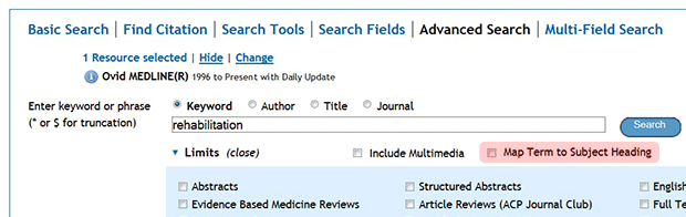 """""""Map Term to Subject Heading"""" checkbox highlighted."""