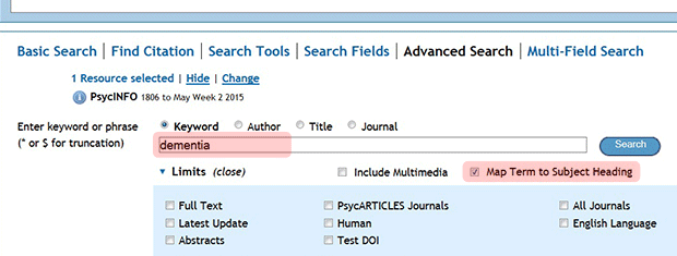 "Search in PsycInfo via Ovid. ""dementia"" in search box and ""Map Term to Subject Heading"" checked."